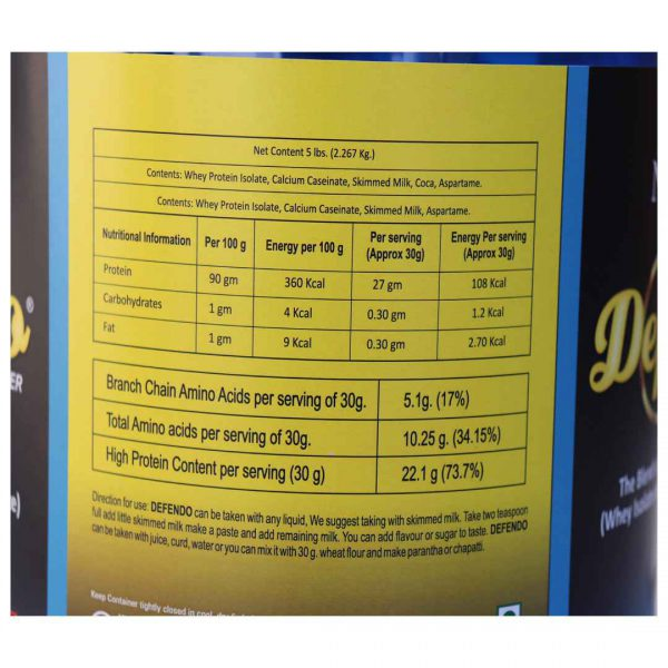 Defendo-Pure-Whey-Protein-Isolate-5-lb-Nutritional-information